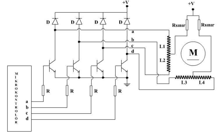 Step Motor Transistörlü Sürücü Devresi