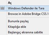 Sağ Tuş Menüsüne Windows Defender ile Tara Seçeneğini Ekleme