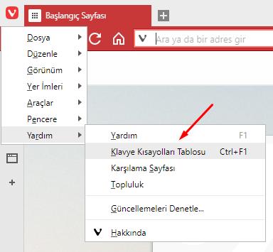 Vivaldi Browser'da Klavye Kısayollarını Öğrenmek