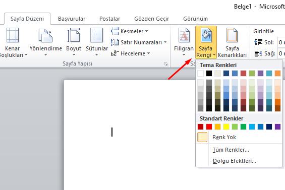 Word'de Sayfa Rengi Değiştirme Nasıl Yapılır?