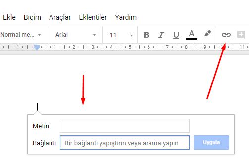 Google Dokümanlar Bağlantı Ekleme Nasıl Yapılır?