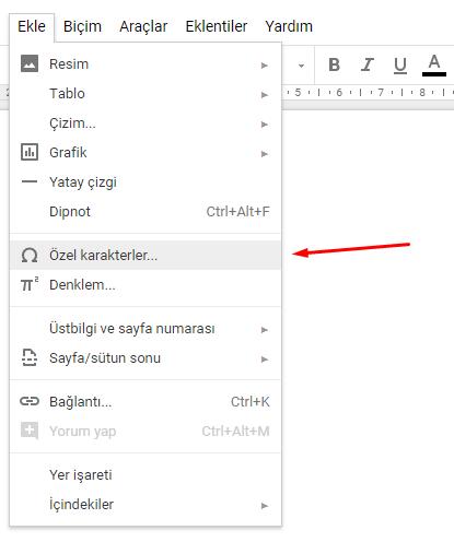 Google Dokümanlar Özel Karakter Ekleme Nasıl Yapılır?