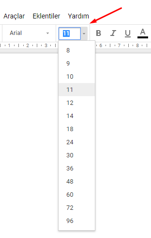 Google Dokümanlar Yazı Tipi Boyutu Değiştirme Nasıl Yapılır?