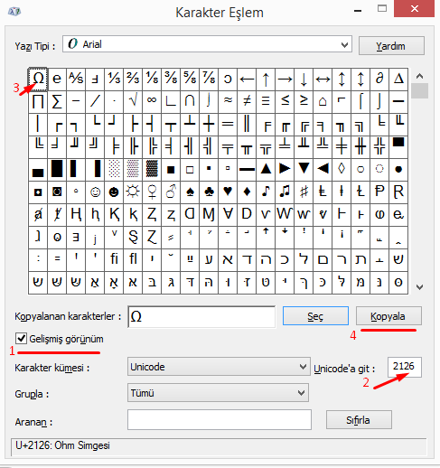 Bilgisayarda Ohm İşareti Nasıl Yapılır?