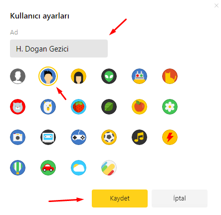 Yandex Browser'da Kullanıcı Adı ve Resmini Değiştirmek