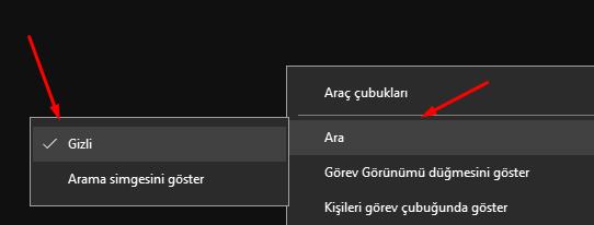 Windows 10 Görev Çubuğunda Arama Simgesini Gizlemek