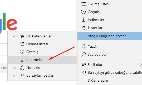 Microsoft Edge'de Araç Çubuğuna İndirmeler Kısayolu Eklemek