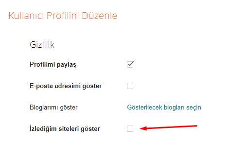 Blogger Profilimde İzlediğim Siteleri Nasıl Gösterebilirim?