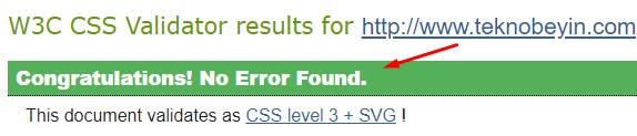 Teknobeyin HTML (XHTML) ve CSS Testinden Geçti