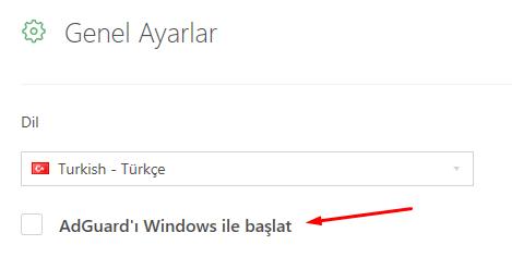 AdGuard Windows ile Başlamasın (Programı Kapatmadan)