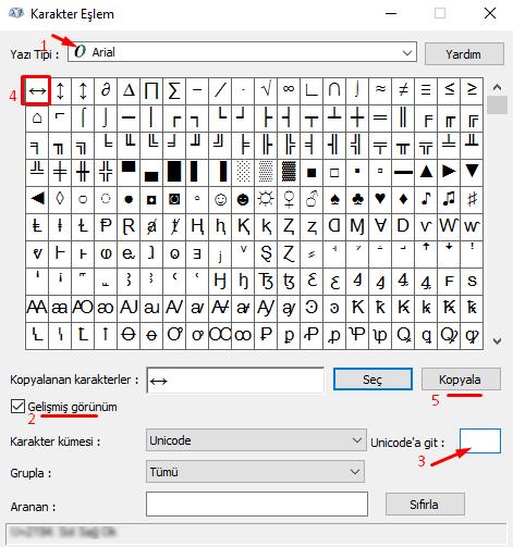 Bilgisayarda Klavyede Sol Sağ (İki Uçlu) Ok İşareti