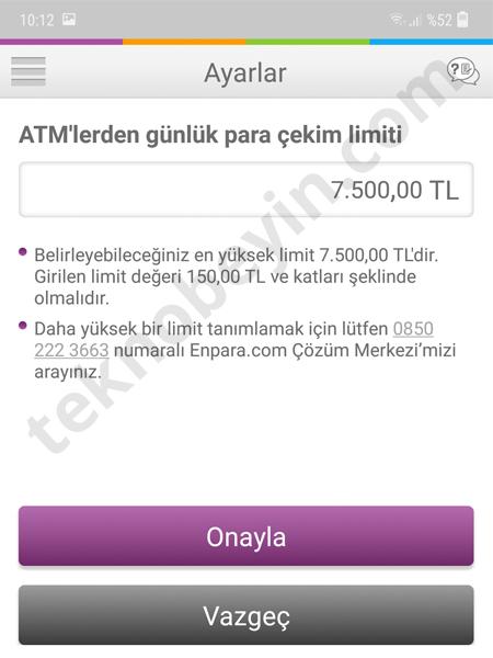 Enpara ATM Para Çekim Limiti Arttırma Azaltma