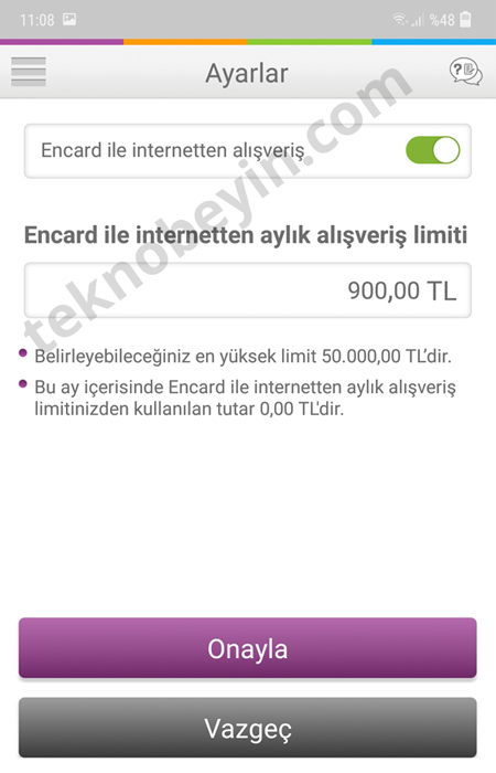 Enpara Encard İnteret Alışveriş Limiti Arttırma Azaltma