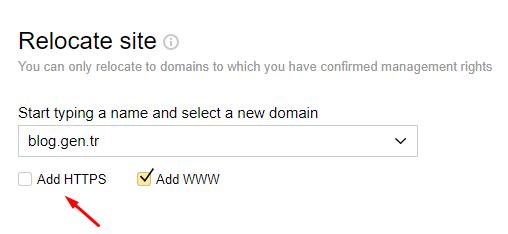 Yandex Webmaster'da Site URL'sini HTTPS Yapalım