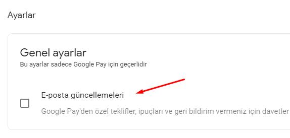 Google Pay için E-Posta Bildirimlerini Kapatalım