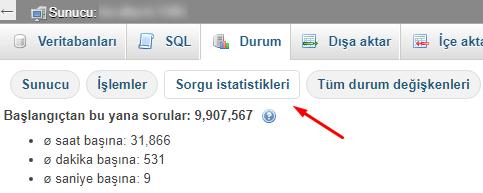 MySQL Sorgu İstatistikleri Nasıl Görüntülenir?