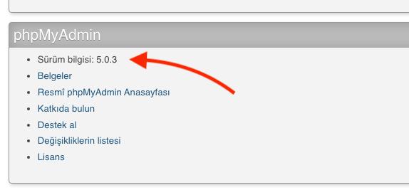 Plesk'te phpMyAdmin Sürümü Nasıl Öğrenilir?