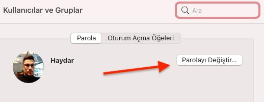 MAC Bilgisayar Kullanıcı Şifresini Değiştirme